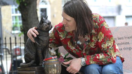 Street Cat Bob immortalised in Islington Green. Further info from Zoe at Charitable PR 07743 545293