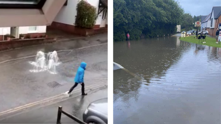 A montage. Left - something gushing out of the road which looks like a fountain. Right - flooding on the B184