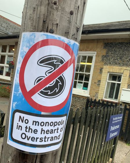 Asign protesting a proposed 5G mast in Overstrand