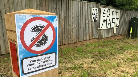 Signs protesting a proposed 5G mast in Overstrand