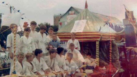Members of Stevenage Judo Club on a float for a town carnival in 1975.
