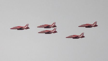 Stuart Buckminister took this image of the Red Arrows flying over St Neots at the Euro 2020 final.