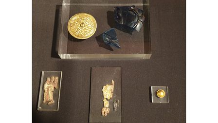 An assortment of Anglo-Saxon treasures found at Sutton Hoo