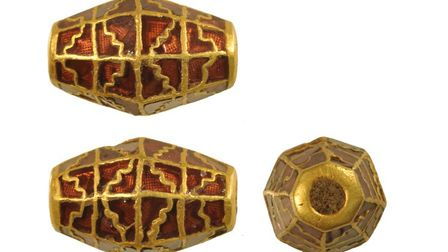 An Anglo-Saxon gold bead uncovered in Rendlesham