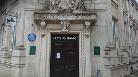 Lloyds Bank on Gentleman's Walk in Norwich city centre is temporarily closed due to Covid
