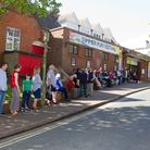 The queue for tickets at the Manor Pavilion Theatre in Sidmouth for the Summer Play Festival. Ref sh