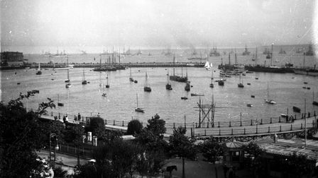 View of Torquay Harbour with ironclads at anchor