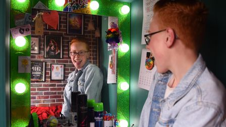 Fifteen-year-old Korben White of Dickleburgh, whose drag queen persona is Miss FrouFrou. Picture: DE
