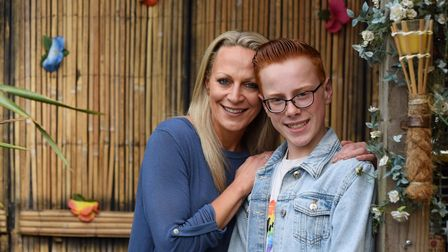 Fifteen-year-old Korben White of Dickleburgh, whose drag queen persona is Miss FrouFrou. With him is
