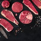 Different cuts of meat at CarverGreen Farm Butchery in the Cotswolds
