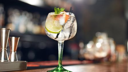 A refreshing glass of gin and tonic.