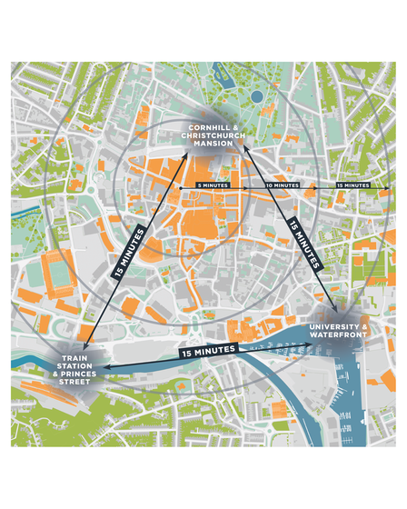 A map showing the area included in the connected town concept.
