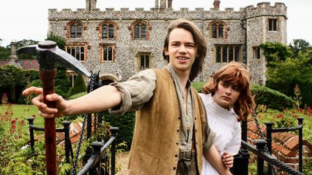 Keira Painter as Irene and Elijah Watmough as Curdie in rehearsals for the Princess and the Goblin at Mannington Hall.