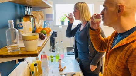 Alli Briaris and Neil Merrick creating cocktail recipes for theirproducts in theDrinks Kitchen development kitchen.