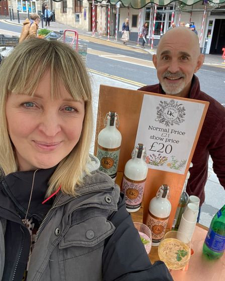 Alli and Neil with a Drinks Kitchen stall at Frome Farmers'Market on July 10.