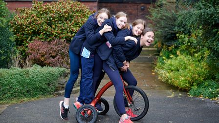 Group of girls playing together to support each other's mental wellbeing at Wakefield Girls' High School in Yorkshire