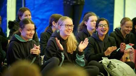 Assembly for mental health taking place at Wakefield Girls' High School in Yorkshire, England.