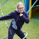Student exercising to maintain her mental health at Wakefield Grammar School in Yorkshire, England.