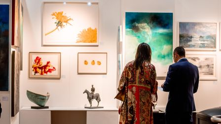 Guests attending the Fresh:Art Fair at Coombe Gallery.