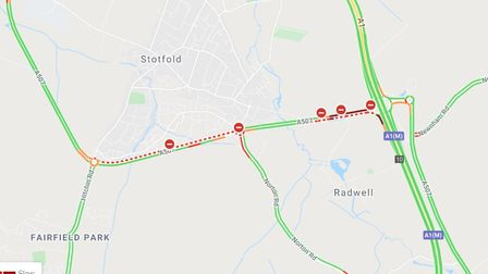 One carriageway of the A507 is closed after an accident this afternoon (July 16)