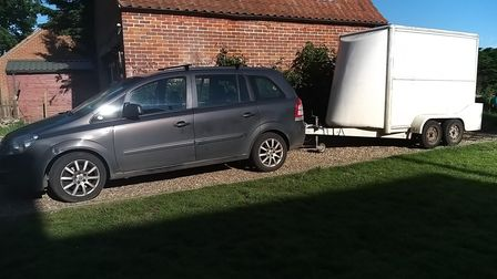 Gareth Whiting's Vauxhall Zafira and trailer which led to him beingissued with a false traffic offence report on the A47.