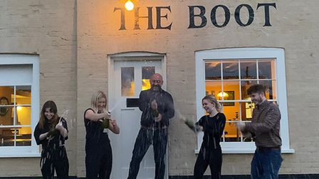 Celebrations at The Boot after hearing the announcement of the award