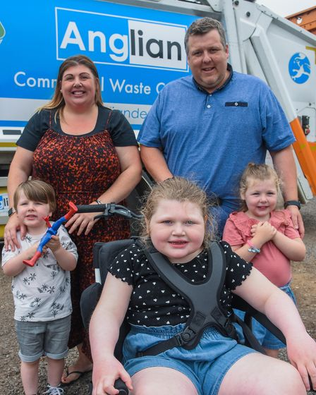 Oliva Edwards, from Wymondham, with her parents, Gemma Dineen and Danny Edwards, and siblings, Harry and Emily