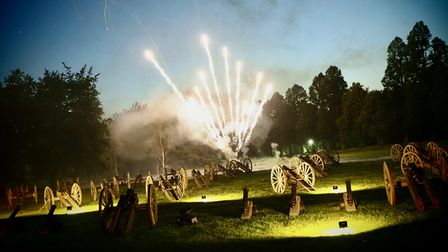 Fireworks and cannon fire at the 2021 Battle Proms concert in the grounds of Hatfield House.