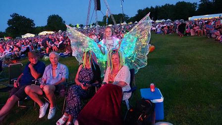 Revellers at the 2021 Battle Proms concert in the grounds of Hatfield House.