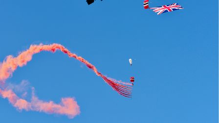 The Red Devils dropping in on the Hatfield House Battle Proms concert.