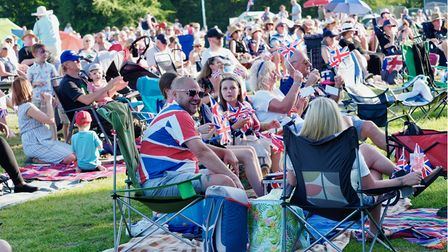 Crowds at the 2021 Battle Proms concert in the grounds of Hatfield House.