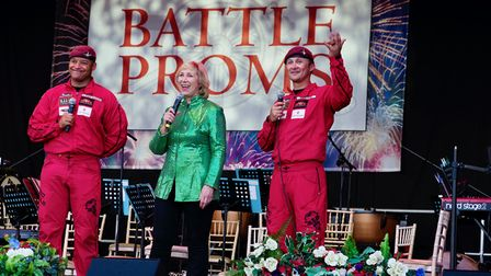 Members of The Red Devils Army Parachute Display Team on stage with Pam Rhodes at the 2021 Battle Proms concert