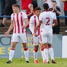 Stevenage fans celebrate Harry Draper's goal during the friendly with St Albans City.