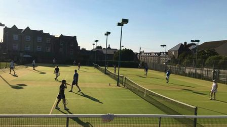 Blue skies above Clevedon Lawn Tennis Club