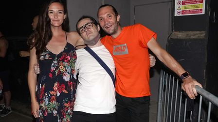 (left to right) Chloe Waite, Gabriel Wildsmith and Alex Clarke queue up for the Egg nightclub in Lon