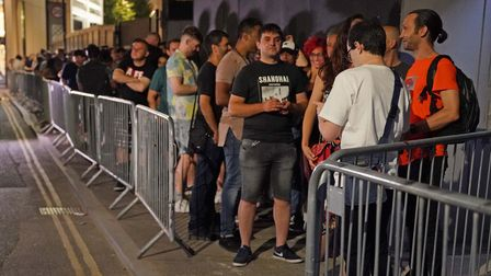 People queue up for the Egg nightclub in London, after the final legal coronavirus restrictions were
