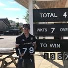 Nathan Hancock after his record breaking score for Lympsham & Belvedere 2nd XI against Cranmore