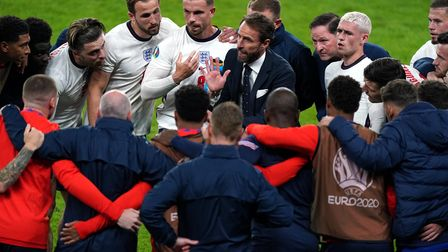 England manager Gareth Southgate gives a team talk at half time of extra time during the UEFA Euro 2
