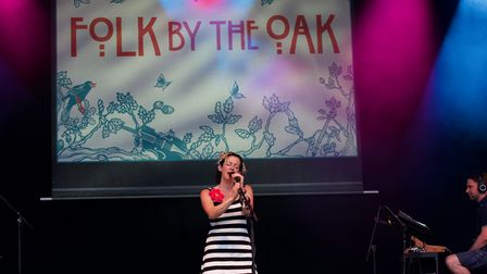 Folk by the Oak favourite Kate Rusby on stage at the 2021 festivalatHatfield House.