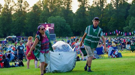 Clearing up the rubbish at Folk by the Oak 2021 in Hatfield Park.