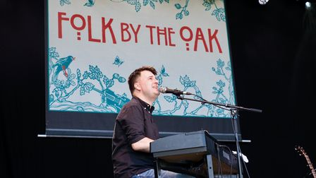 Folk by the Oak patron Jim Moray on stage at this year's festivalin Hatfield Park.