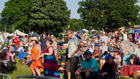 The crowd at Folk by the Oak 2021 in Hatfield Park.