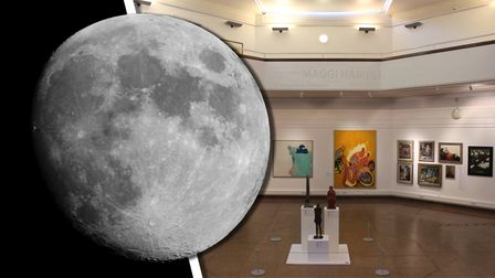 Photograph of the moon alongside a photograph of the inside of Ipswich Art Gallery