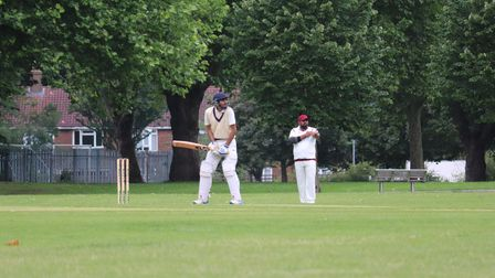 Sacin Neve in batting action for Newham seconds