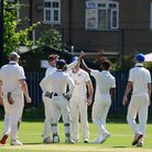 Hornchurch Athletic celebrate a wicket at Newham