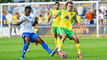 Todd Cantwell made a second half appearance for Norwich City at King's Lynn Town
