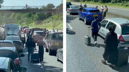 A montage: both images show drivers with luggage walking along the M11 towards Stansted Airport