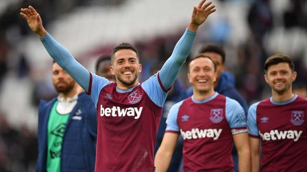 West Ham United's Pablo Fornals during a lap of appreciation at the end of the Premier League match