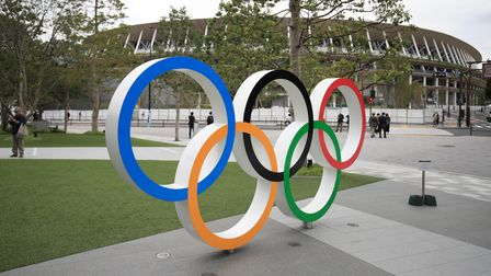 Olympic Rings outside the Olympic Stadium in Tokyo, Japan