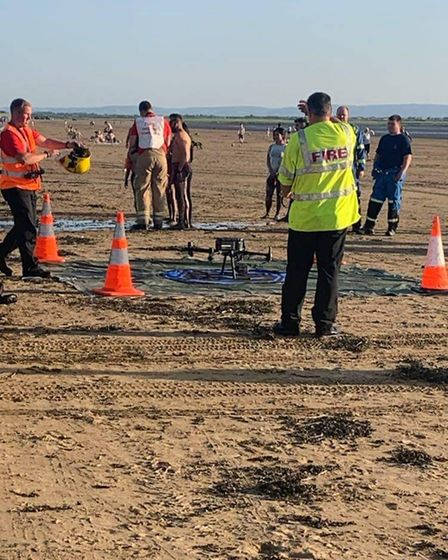 A drone being set-up on the beach as part of one of the rescues.